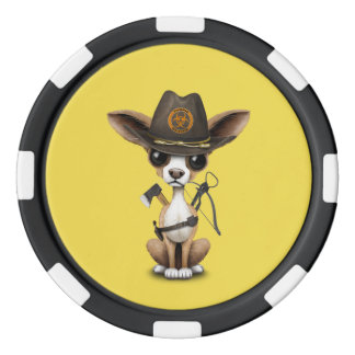 Cute Chihuahua Puppy Zombie Hunter Poker Chips