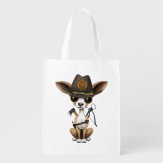 Cute Chihuahua Puppy Zombie Hunter Reusable Grocery Bag