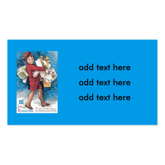 Cute Child Carrying Presents Holly Snow Pack Of Standard Business Cards