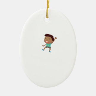 Cute child illustration ceramic oval decoration