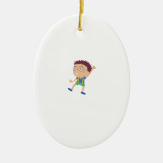 Cute child illustration Double-Sided oval ceramic christmas ornament
