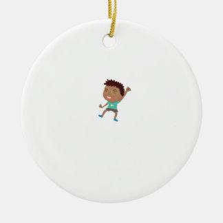 Cute child illustration round ceramic decoration
