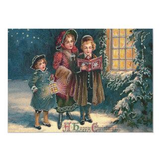 Cute Children Carolers Caroling 13 Cm X 18 Cm Invitation Card