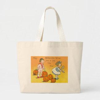 Cute Children Jack O Lantern Pumpkin Jumbo Tote Bag