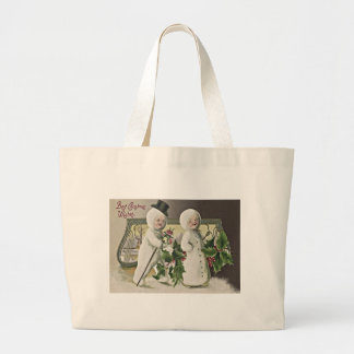 Cute Children Snowman Holly Jumbo Tote Bag