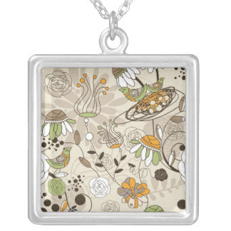 Cute Children Style Flowers & Birds Silver Plated Necklace