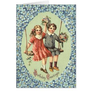 Cute Children Swing Bouquet Flowers Card