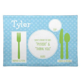 Cute Children's Proper Manners Polka Dot Place Mat