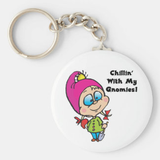 Cute Chillin With My Gnomes Design Basic Round Button Key Ring
