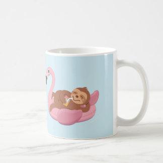 Cute Chilling Sloth Pink Flamingo Float Mug