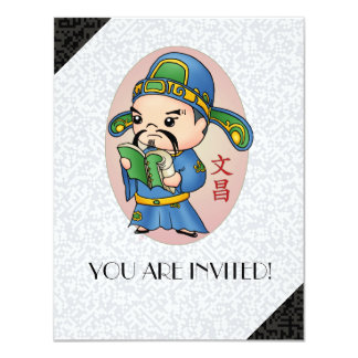 Cute Chinese God Of Education 11 Cm X 14 Cm Invitation Card