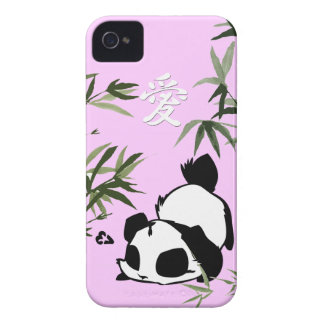 """Cute Chinese """"Love"""" Panda with Bamboos iPhone 4 Cases"""