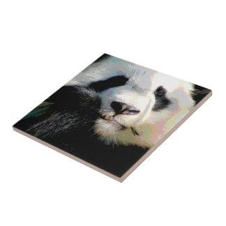 Cute Chinese Panda Bear Eating Bamboo Digital Art Tile