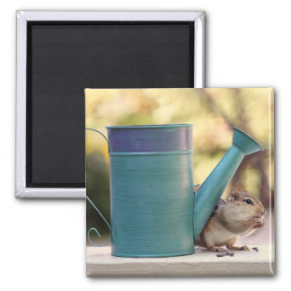 Cute Chipmunk and Watering Can Picture Refrigerator Magnet