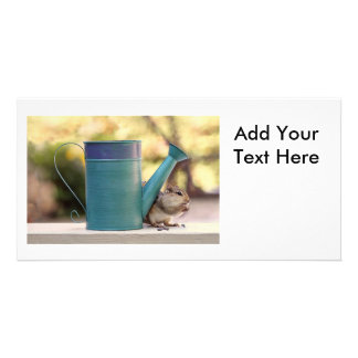 Cute Chipmunk and Watering Can Picture Personalized Photo Card