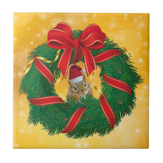 Cute Chipmunk Christmas Wreath Ceramic Tile