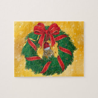 Cute Chipmunk Christmas Wreath Jigsaw Puzzle