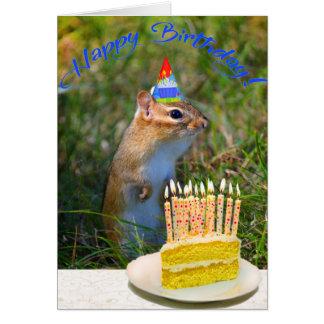 Cute chipmunk in party hat birthday card