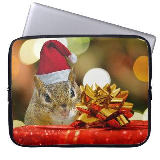 Cute Chipmunk Merry Christmas Laptop Sleeve