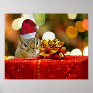 Cute Chipmunk Merry Christmas Poster