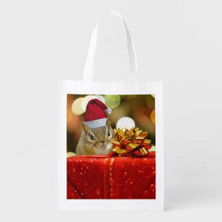 Cute Chipmunk Merry Christmas Reusable Grocery Bag