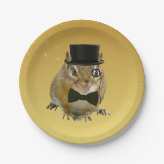 Cute Chipmunk New Year's Eve Party Paper Plate