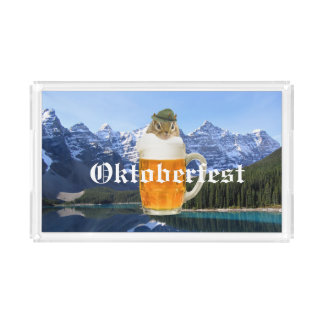 Cute Chipmunk Oktoberfest Mountains Acrylic Tray