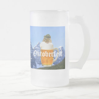 Cute Chipmunk Oktoberfest Mountains Frosted Glass Beer Mug