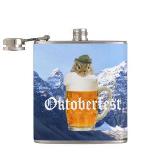 Cute Chipmunk Oktoberfest Mountains Hip Flask