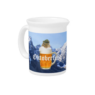 Cute Chipmunk Oktoberfest Mountains Pitcher