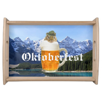 Cute Chipmunk Oktoberfest Mountains Serving Tray