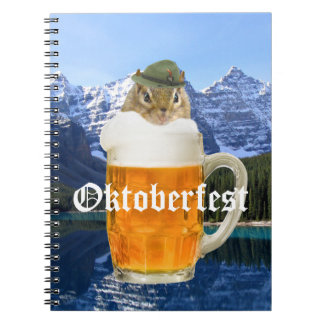 Cute Chipmunk Oktoberfest Mountains Spiral Notebook