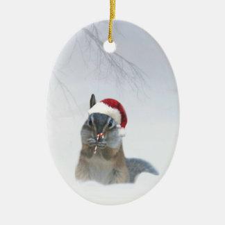 Cute Chipmunk Santa with Candy Cane Ceramic Ornament