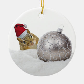 Cute Chipmunk Silver and Snow Christmas Holiday Ceramic Ornament