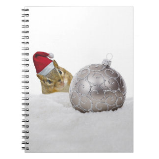 Cute Chipmunk Silver and Snow Christmas Holiday Notebook