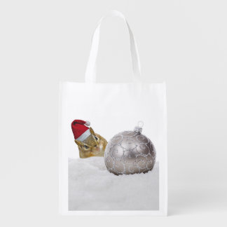 Cute Chipmunk Silver and Snow Christmas Holiday Reusable Grocery Bag