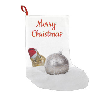 Cute Chipmunk Silver and Snow Christmas Holiday Small Christmas Stocking
