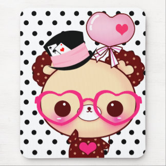 Cute chocolate bear with pink glasses mouse pad