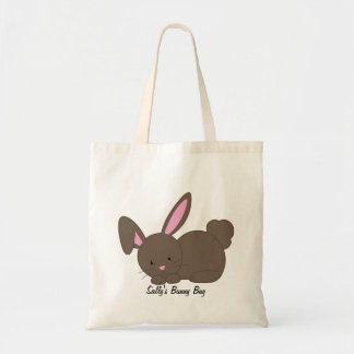 Cute Chocolate Brown Bunny Rabbit Personalized Tote Bag