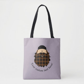 Cute Chocolate Brown Plaid Bearded Character Tote Bag