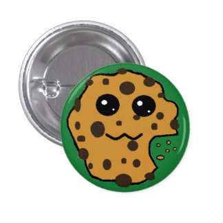 Cute chocolate chip cookie dark green buttons