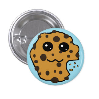 Cute Chocolate chip cookie light blue Pinback Buttons