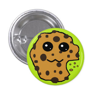 Cute chocolate chip cookie light green button