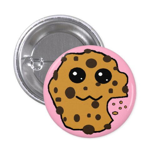 Cute chocolate chip cookie pink 3 cm round badge