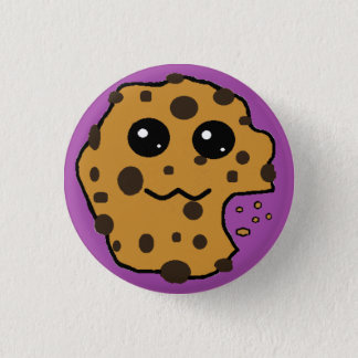 Cute chocolate chip cookie purple 3 cm round badge