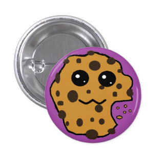 Cute chocolate chip cookie purple button