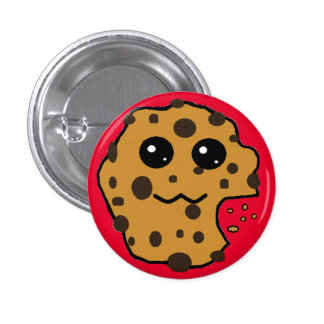 Cute chocolate chip cookie red pinback button