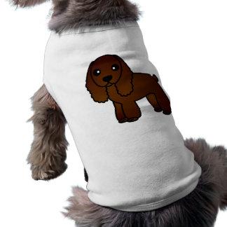 Cute Chocolate Cocker Spaniel Cartoon Sleeveless Dog Shirt