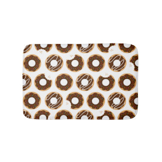 Cute Chocolate Donuts Pattern Bath Mat