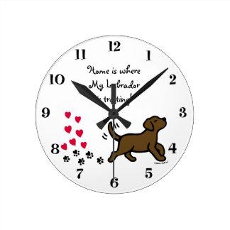 Cute Chocolate Labrador Trotting Clock